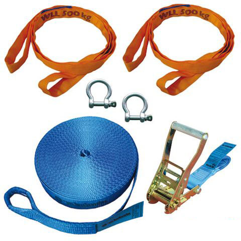 Slackline Basic Set 50mm 6-teilig, 15m